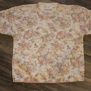 Vintage Floral Sweater Short Sleeved Size Medium